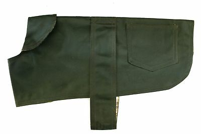 Premium British Wax Dog Coat Green Waterproof Gundog Jacket super soft inside