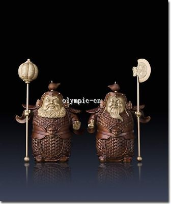 Pair13''Pure Brass handcraft colored drawing Folk home fengshui door protect God