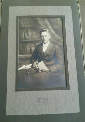 Vintage Antique Framed Photo Photograph Young Man Confirmation Reynolds Decorah