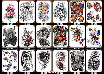 large Long lasting Temporary Tattoo Sticker 3D  Waterproof Arm Back Body Art uk