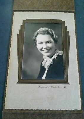 Vintage Antique Framed Photo Photograph Beautiful Young Lady Woman