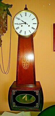 W. K. Sessions Wooden Banjo Clock, Hermle Movement- New England Clock Company