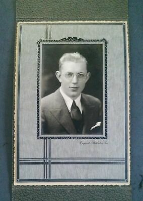 Vintage Antique Framed Photo Photograph Handsome Young Man Suit Tie