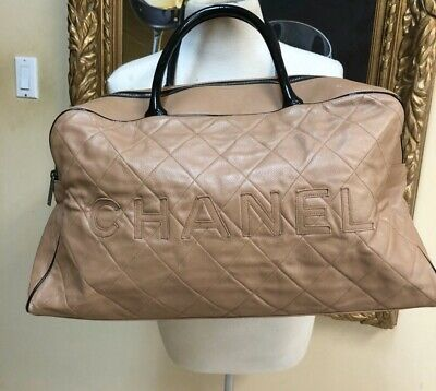 0326f39fad60 Chanel Beige Diamond Quilted Lambskin Leather Speedy Bag Chanel Name Logo  Large