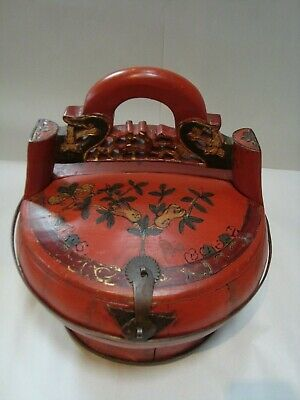 Antique Early 1900s Chinese Red Lacquer Wooden Wedding/Rice/Food Basket