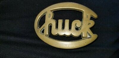 Vintage Name CHUCK Solid Brass Belt Buckle