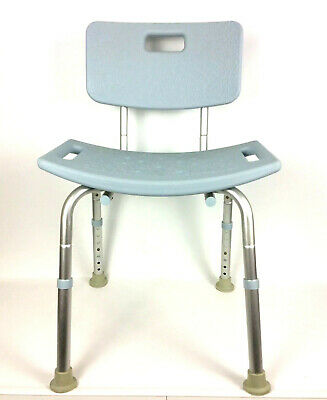 Medline Bath Bench Chair With Back Microban Antimicrobial Blue MDS89745KDMB