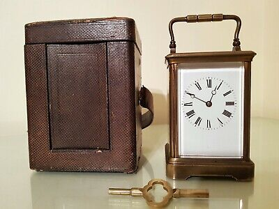 19th Century French Brass Corniche Cased Striking Carriage Clock.