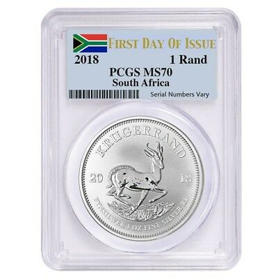 2018 South Africa 1 oz Silver Krugerrand PCGS MS 70 FDOI