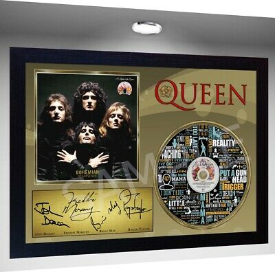 QUEEN Freddie Mercury MUSIC BOHEMIAN RHAPSODY SIGNED FRAMED PHOTO CD Disc