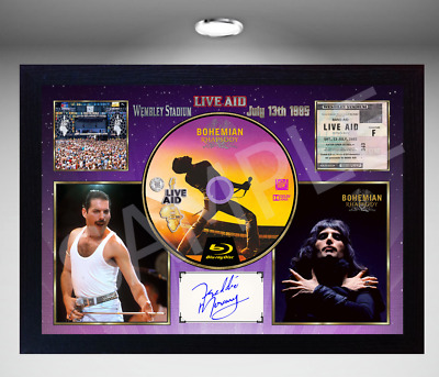 QUEEN Freddie Mercury MUSIC WEMBLEY STADIUM SIGNED FRAMED PHOTO CD Disc