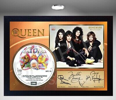 QUEEN Freddie Mercury MUSIC A NIGHT AT THE OPERA SIGNED FRAMED PHOTO CD Disc