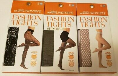 47fae3b2be2d4 Warner's Womens Tights Blissful Benefits Black Fish Net Lot of 3 Styles Size  ...