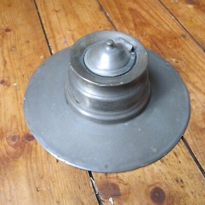 Pewter Ship's Capstan Ink Well James Dixon Sons Sheffield Late C19th Glass Liner