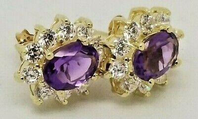 ELEGANCE !!!! Lds.10 Karat Yellow Solid Gold Amethyst and CZ Earrings. 2.4 grams
