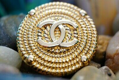 CHANEL BUTTONS CC LOGO 0.8 inch 20 mm GOLD TONED METAL