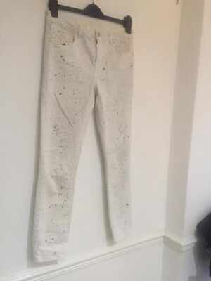 Zara Ladies White Paint Effect Skinny Jeans Size 8