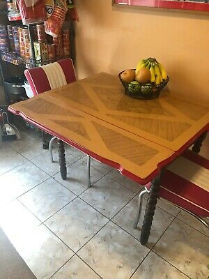 VINTAGE KITCHEN TABLE, Wood with Enamel Top - $159.00 | PicClick