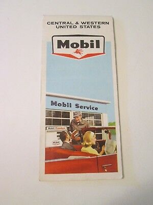 Vintage Mobil - Central & Western United States - Oil Gas Station Road Map