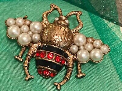 Bee Brooch Pin Faux Pearls Red Rhinestones Large