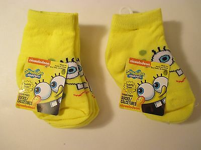 Nickelodeon Sponge Bob Infant Toddler Boy 3 PKSocks Size 18-24 M Nwt Safety Toes