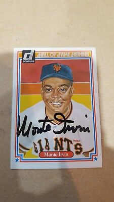 1983 Donruss Hall of Fame Heroes MONTE IRVIN Signed Card #15