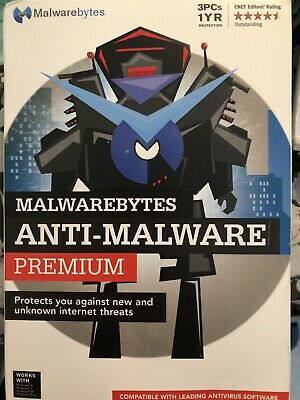 New Malwarebytes Anti-Malware Premium 3.0 - 3 PCs / 1 Year  FREE SHIP