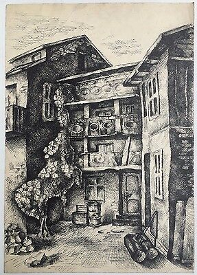 Painting From Europe: Detailed And Beautiful Old European Town House Chinese Ink