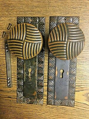 Pair Antique Wrought Bronze Doorknobs & Matching Back Plates, Unusual Groove Pat