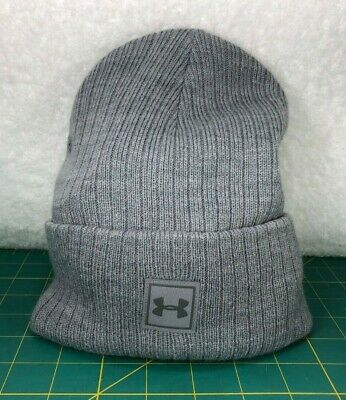c006bf32968 Under Armour Men s UA Truckstop Gray w  Gray Logo Woven Beanie Winter Hat ~  OSFA