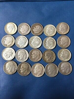 Roosevelt Dimes - 90% Silver - Lot of 20 Coins - $2 Face Value  -