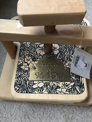 NEW Flower Herb Leaf Press Wooden Heavy Duty Screw turn crank