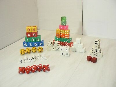 Lot of 69 DICE Mixed Colors Sizes Sides 4 6 8 20 RPG School Art projects Games