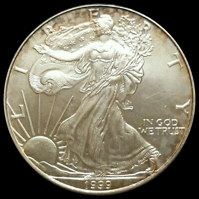 1999 1 ounce Uncirculated Silver American Eagle Bullion Natural Toning Toned See