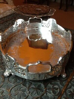 Magnificent Mint Condition Antique GothicHeavy Silver Plated Oval Galleried Tray