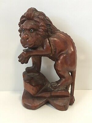 Antique Chinese Hand Carved Wooden Lion With Glass Or Bone Eyes Signed On Bottom
