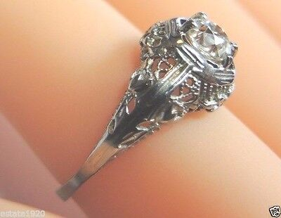 Antique Art Deco Vintage Engagement 18K White Gold Ring Size 5.75 UK-L EGL USA