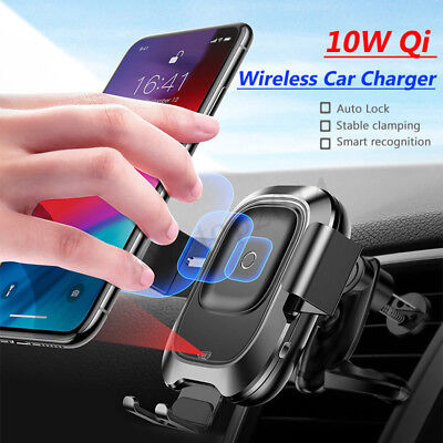 Baseus QI 10W Wireless Charger Infrared Auto Clamping Car Mount Holder for Phone