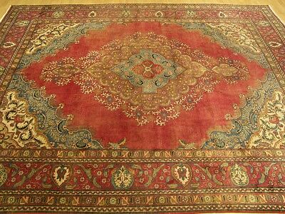 9.9 x 13 Handmade Fine Antique Persian 1930s Vintage Wool Rug_Beautiful Colors