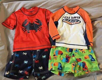 70dbd98ca0 Boys 12-18 Month Swim Sets Shorts Rashguard Carter's Gymboree Crab Red  Orange