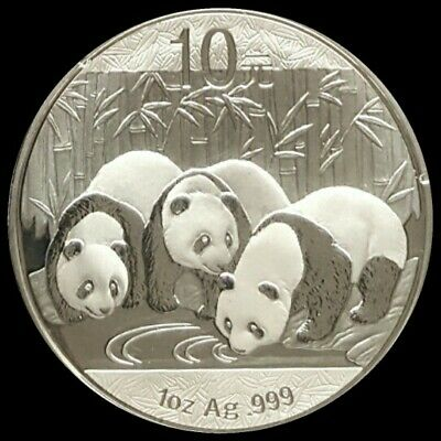 2013 1OZ CHINESE SILVER PANDA 10Y COIN BU UNCirculated.  Spots on Cap. not coin