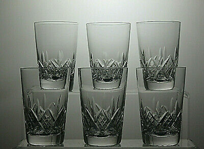 "Stuart Crystal""Glengarry"" Cut Flat Tumblers / Glasses Set Of 6 - 3 1/2"" Tall"