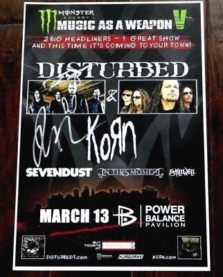 Disturbed Band Signed Music As A Weapon V 12X18 Promo Poster & Setlist!!!
