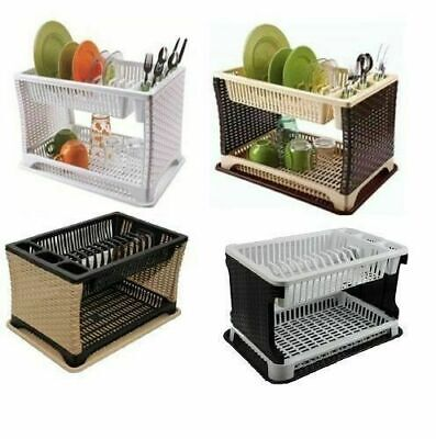 2 tier Dish Drainer Cutlery Plates Bowls Holder Kitchen Rack IN 3COLOR Raddan