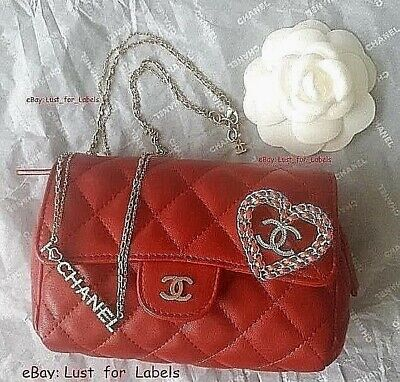 e3bc2946e3b5cb 3 Piece CHANEL Red Set: Cosmetic Clutch BAG + CC Heart BROOCH + NECKLACE Lot