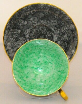 Royal Chelsea Marlborough Black Faux Marble With Green Tea Cup and Saucer
