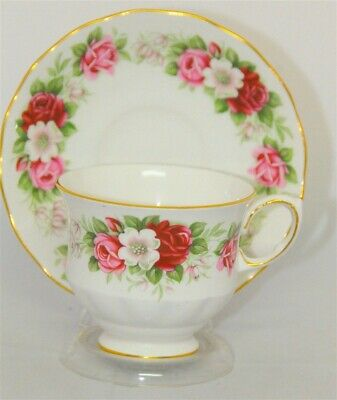 1- Queen Anne Red, Pink Roses Floral Tea Cup and Saucer (Teacup)2 Available
