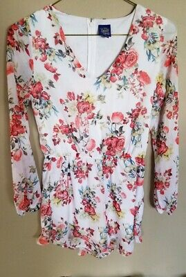 Disney's Beauty & The Beast Floral Shorts Long Sleeve Romper VNeck skort Medium
