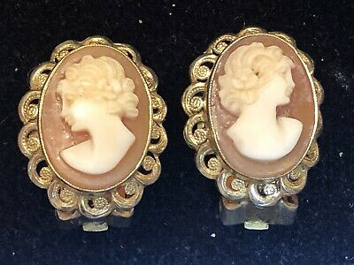 c8a8f0c95 Estate Antique Sterling Silver Cameo Earrings Carved Shell Vermeil Victorian