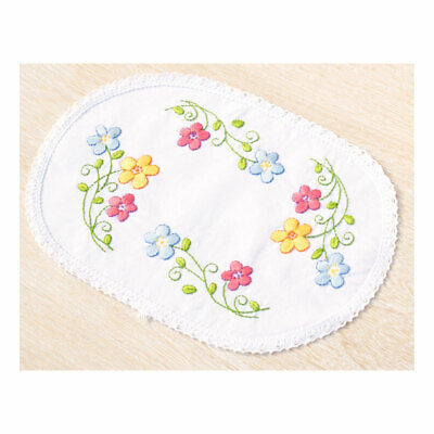 Embroidery Kit Doily Colourful Flowers on Polycotton Fabric| Size 20 x 30cm
